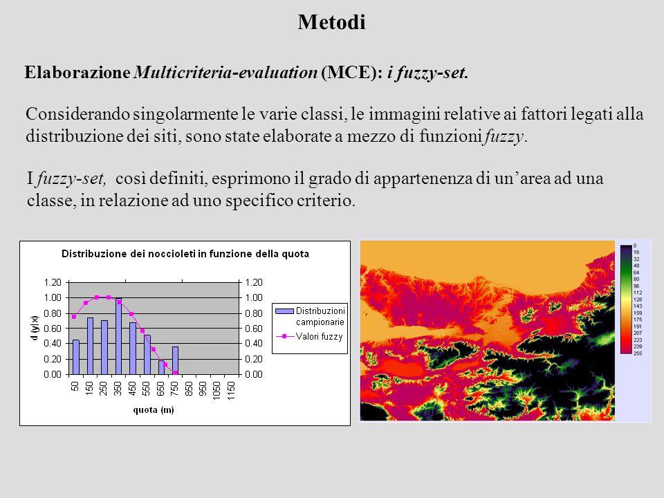 Elaborazione Multicriteria-evaluation (MCE): i fuzzy-set. Considerando singolarmente le varie classi, le immagini relative ai fattori legati alla dist