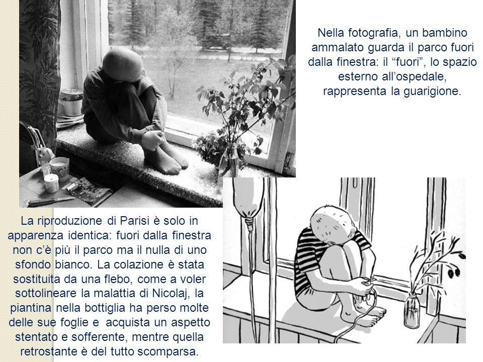 Nella fotografia, un bambino ammalato guarda il parco fuori dalla finestra: il fuori, lo spazio esterno allospedale, rappresenta la guarigione. La rip