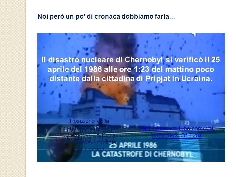 Noi però un po di cronaca dobbiamo farla … Il disastro nucleare di Chernobyl si verificò il 25 aprile del 1986 alle ore 1:23 del mattino poco distante