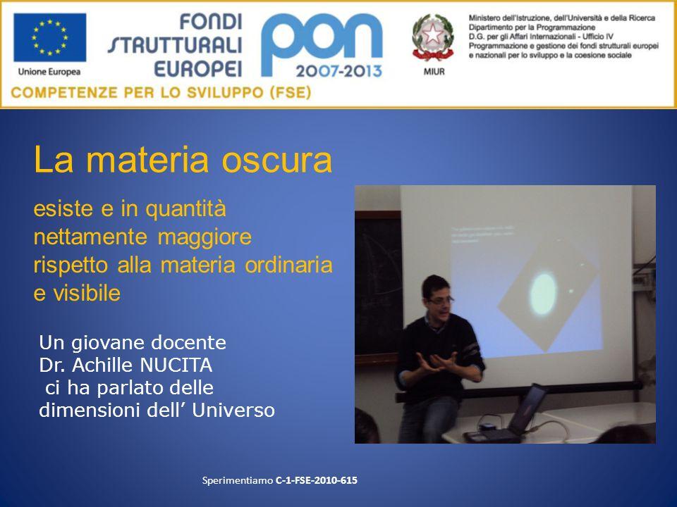 Un giovane docente Dr. Achille NUCITA ci ha parlato delle dimensioni dell Universo Sperimentiamo C-1-FSE-2010-615 esiste e in quantità nettamente magg