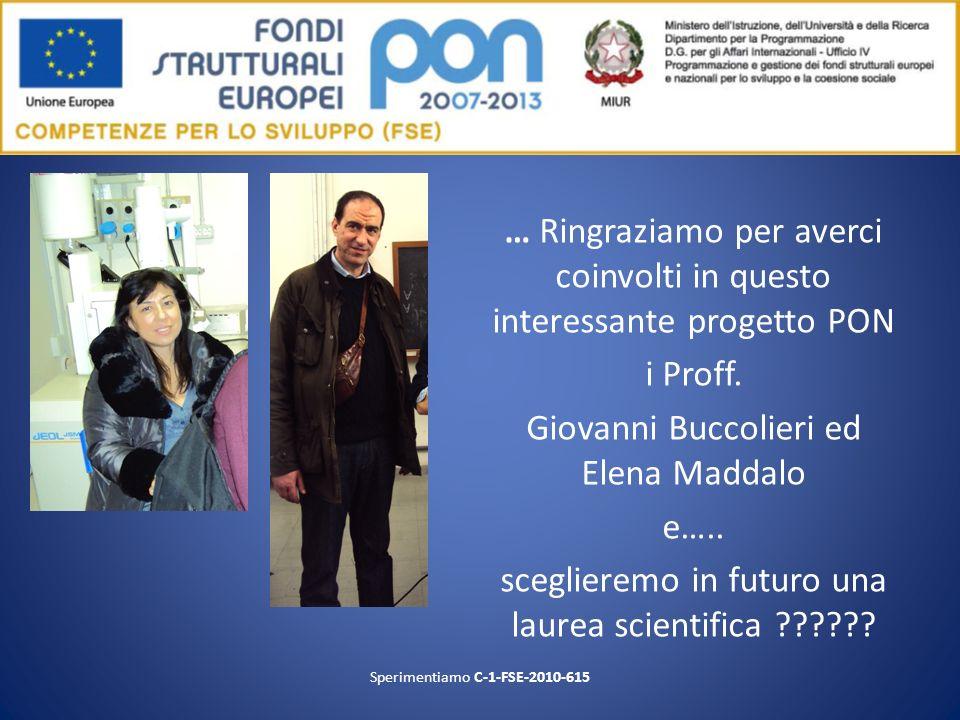 … Ringraziamo per averci coinvolti in questo interessante progetto PON i Proff. Giovanni Buccolieri ed Elena Maddalo e….. sceglieremo in futuro una la