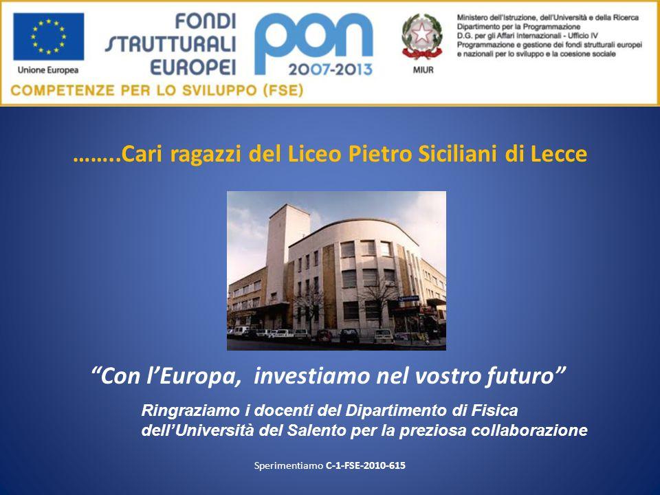 ……..Cari ragazzi del Liceo Pietro Siciliani di Lecce Con lEuropa, investiamo nel vostro futuro Sperimentiamo C-1-FSE-2010-615 Ringraziamo i docenti de