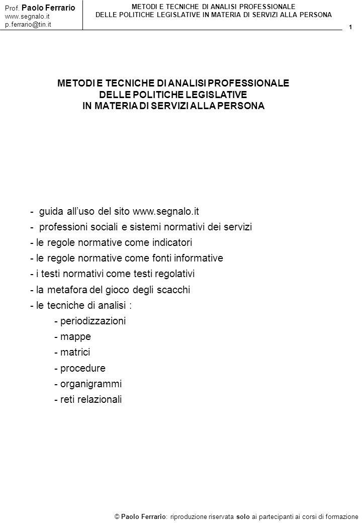 1 © Paolo Ferrario: riproduzione riservata solo ai partecipanti ai corsi di formazione Prof. Paolo Ferrario www.segnalo.it p.ferrario@tin.it METODI E