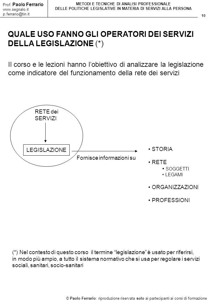10 © Paolo Ferrario: riproduzione riservata solo ai partecipanti ai corsi di formazione Prof. Paolo Ferrario www.segnalo.it p.ferrario@tin.it METODI E