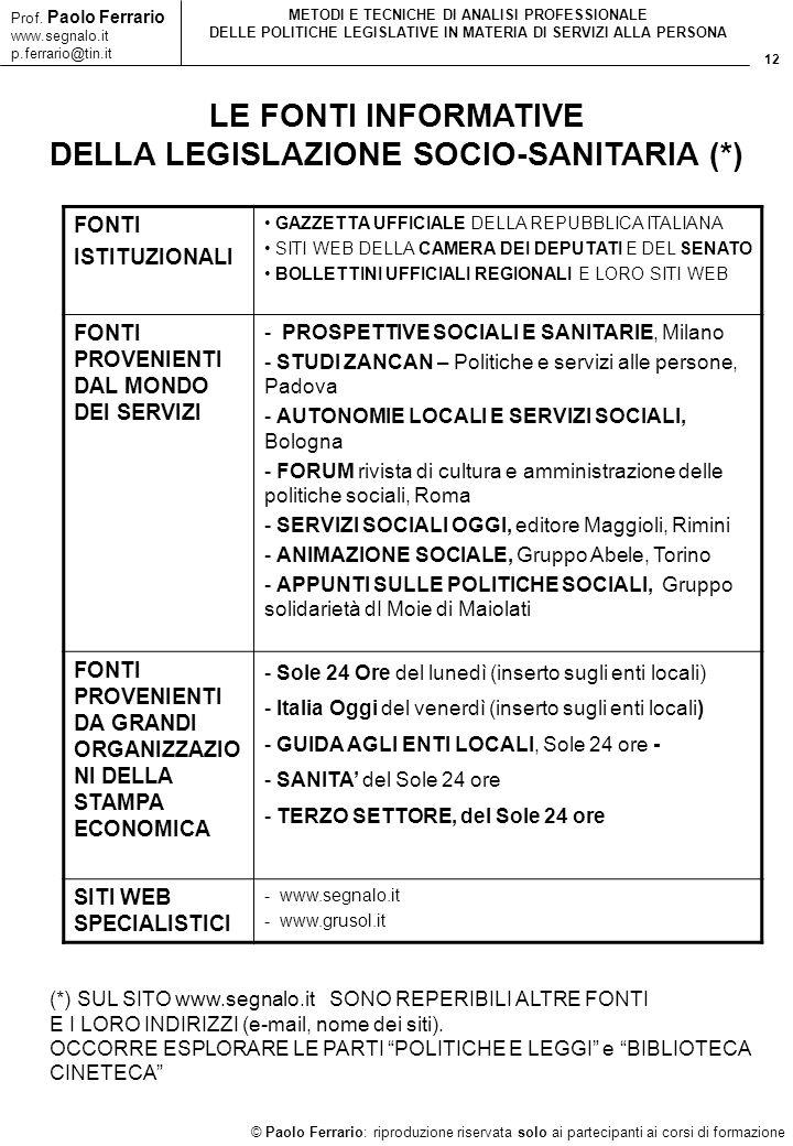 12 © Paolo Ferrario: riproduzione riservata solo ai partecipanti ai corsi di formazione Prof. Paolo Ferrario www.segnalo.it p.ferrario@tin.it METODI E