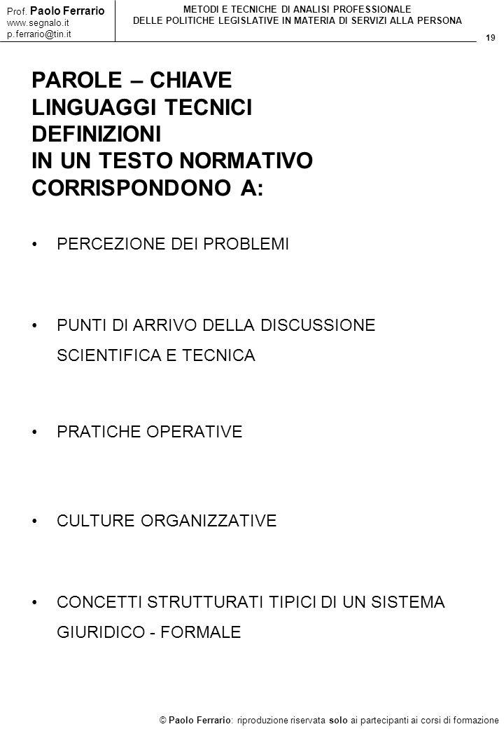 19 © Paolo Ferrario: riproduzione riservata solo ai partecipanti ai corsi di formazione Prof. Paolo Ferrario www.segnalo.it p.ferrario@tin.it METODI E