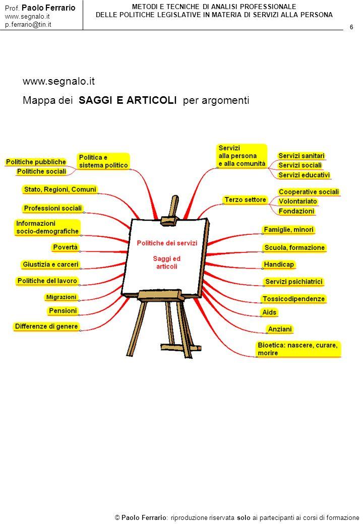 6 © Paolo Ferrario: riproduzione riservata solo ai partecipanti ai corsi di formazione Prof. Paolo Ferrario www.segnalo.it p.ferrario@tin.it METODI E