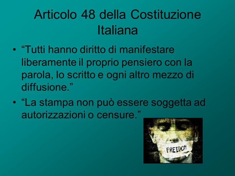 Articolo 48 della Costituzione Italiana Tutti hanno diritto di manifestare liberamente il proprio pensiero con la parola, lo scritto e ogni altro mezz