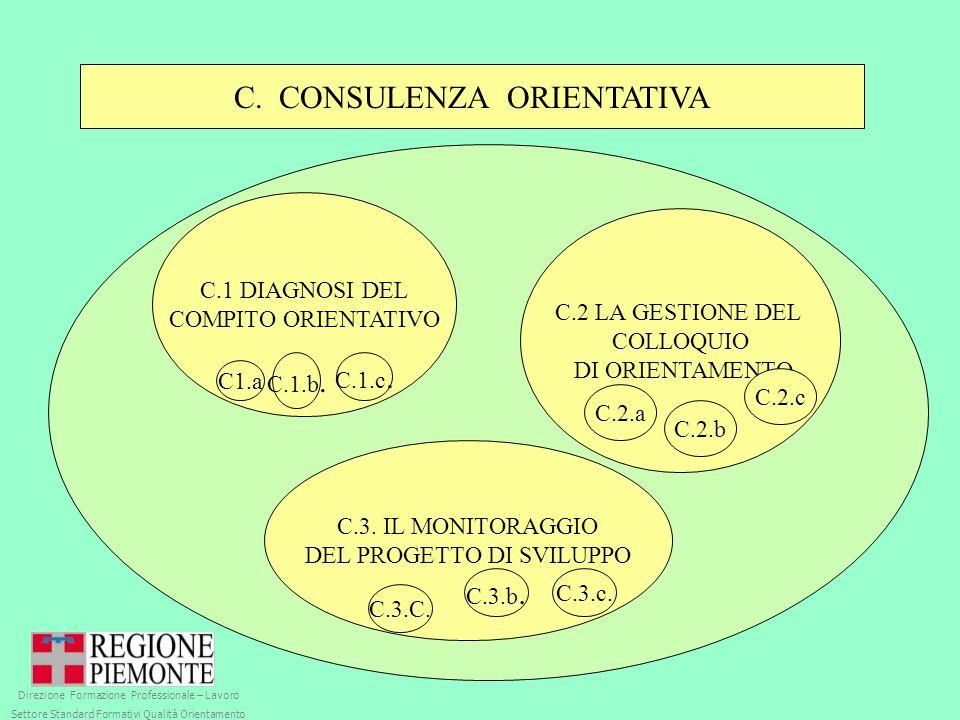 C. CONSULENZA ORIENTATIVA C.1 DIAGNOSI DEL COMPITO ORIENTATIVO C.2 LA GESTIONE DEL COLLOQUIO DI ORIENTAMENTO C.3. IL MONITORAGGIO DEL PROGETTO DI SVIL