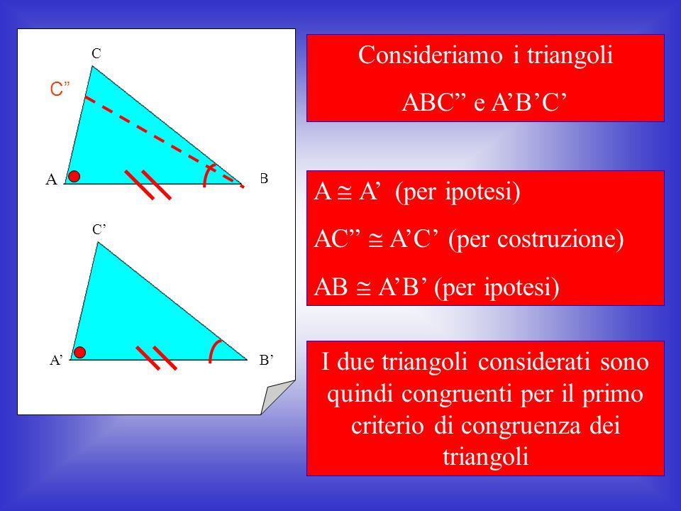 Ora poniamo per assurdo che i due triangoli non siano congruenti e supponiamo che i lati AC e AC siano diversi (nel nostro caso porremo AC > AC) Prendiamo su AC un punto C tale che AC AC Ora uniamo C con B C C BA BA C