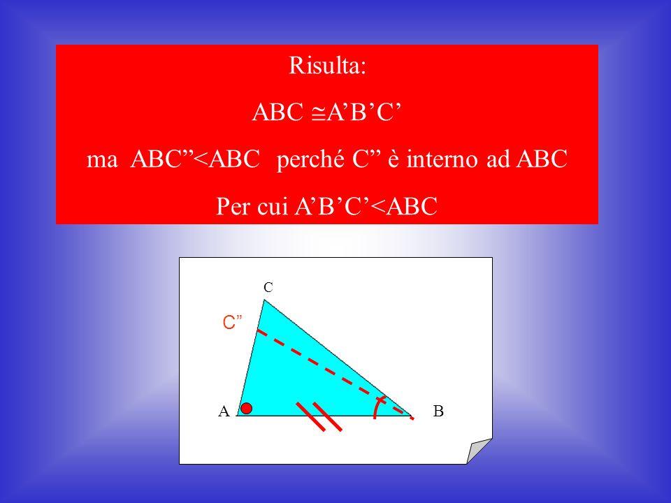 C BA B C C A I due triangoli considerati sono quindi congruenti per il primo criterio di congruenza dei triangoli Consideriamo i triangoli ABC e ABC A A (per ipotesi) AC AC (per costruzione) AB AB (per ipotesi)