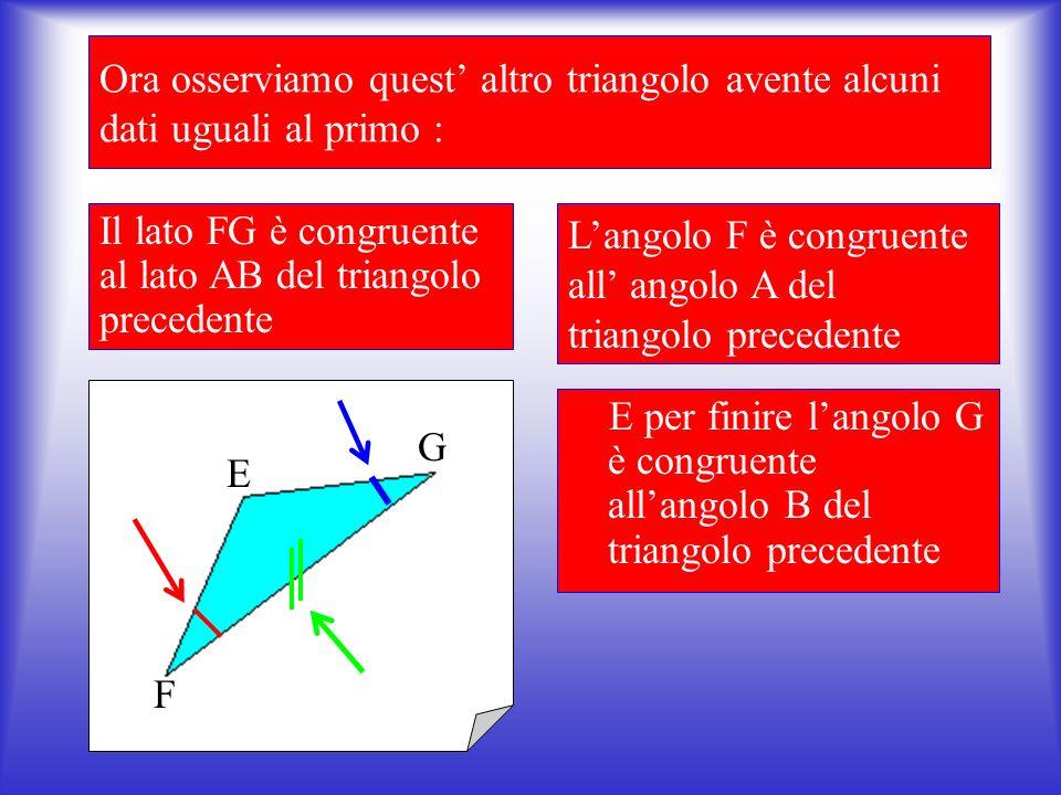Ora applichiamo quello che si è appena detto: Osserviamo un triangolo qualsiasi : Poniamo l attenzione rispettivamente sul lato AB, l angolo A e l angolo B A B C