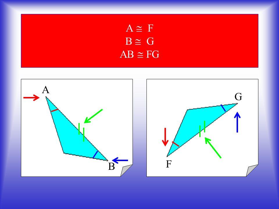 Ora osserviamo quest altro triangolo avente alcuni dati uguali al primo : Langolo F è congruente all angolo A del triangolo precedente Il lato FG è congruente al lato AB del triangolo precedente E per finire langolo G è congruente allangolo B del triangolo precedente F E G