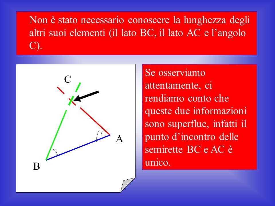 Come si può vedere, con questi tre elementi abbiamo costruito un triangolo e uno solo A B