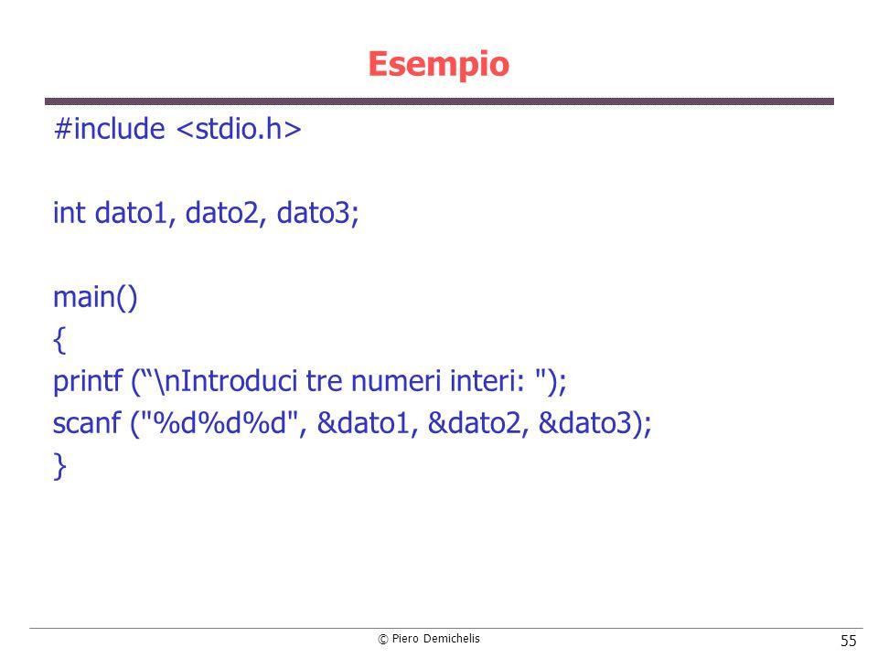 © Piero Demichelis 55 Esempio #include int dato1, dato2, dato3; main() { printf (\nIntroduci tre numeri interi: