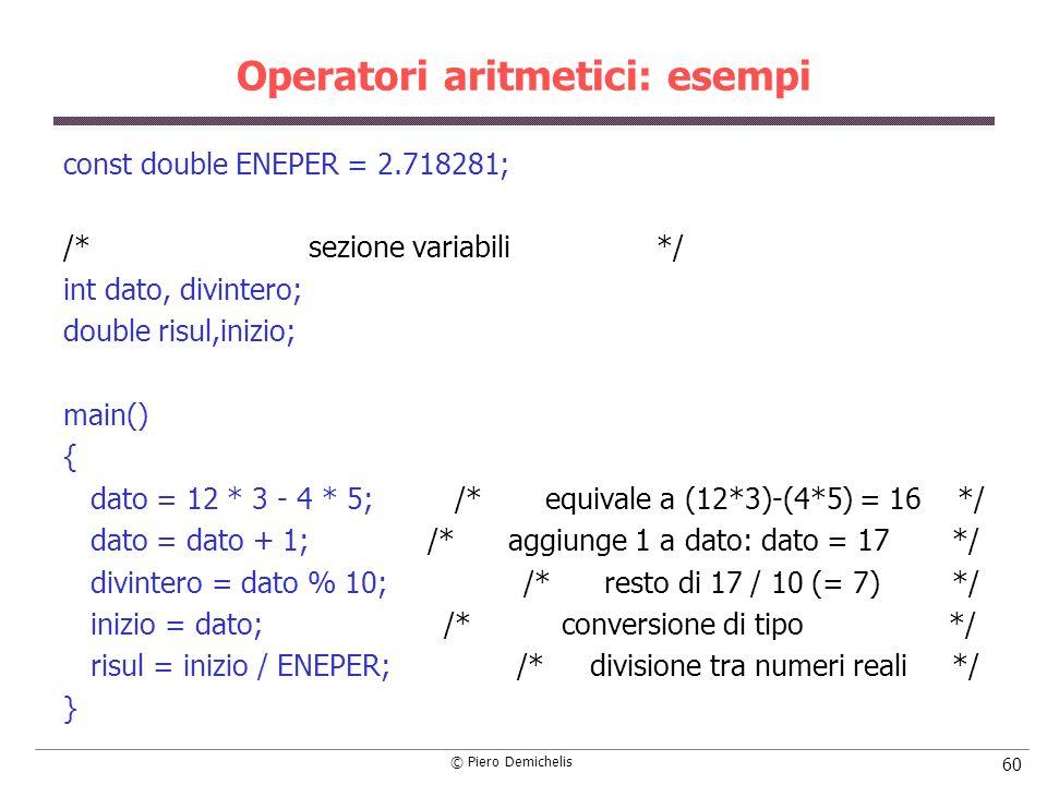 © Piero Demichelis 60 Operatori aritmetici: esempi const double ENEPER = 2.718281; /* sezione variabili */ int dato, divintero; double risul,inizio; m