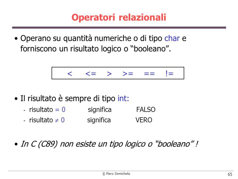 © Piero Demichelis 65 Operatori relazionali Operano su quantità numeriche o di tipo char e forniscono un risultato logico o booleano. >= == != Il risu