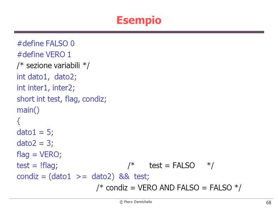 © Piero Demichelis 68 Esempio #define FALSO 0 #define VERO 1 /* sezione variabili */ int dato1, dato2; int inter1, inter2; short int test, flag, condi