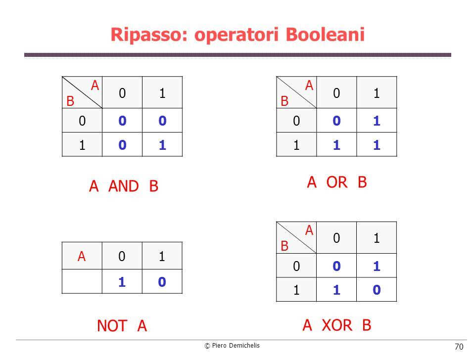 © Piero Demichelis 70 Ripasso: operatori Booleani A B 01 001 111 01 000 101 A AND B A01 10 A B 01 001 110 A OR B NOT A A XOR B
