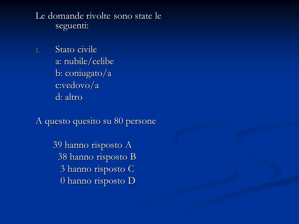 Le domande rivolte sono state le seguenti: 1. Stato civile a: nubile/celibe b: coniugato/a c:vedovo/a d: altro A questo quesito su 80 persone 39 hanno