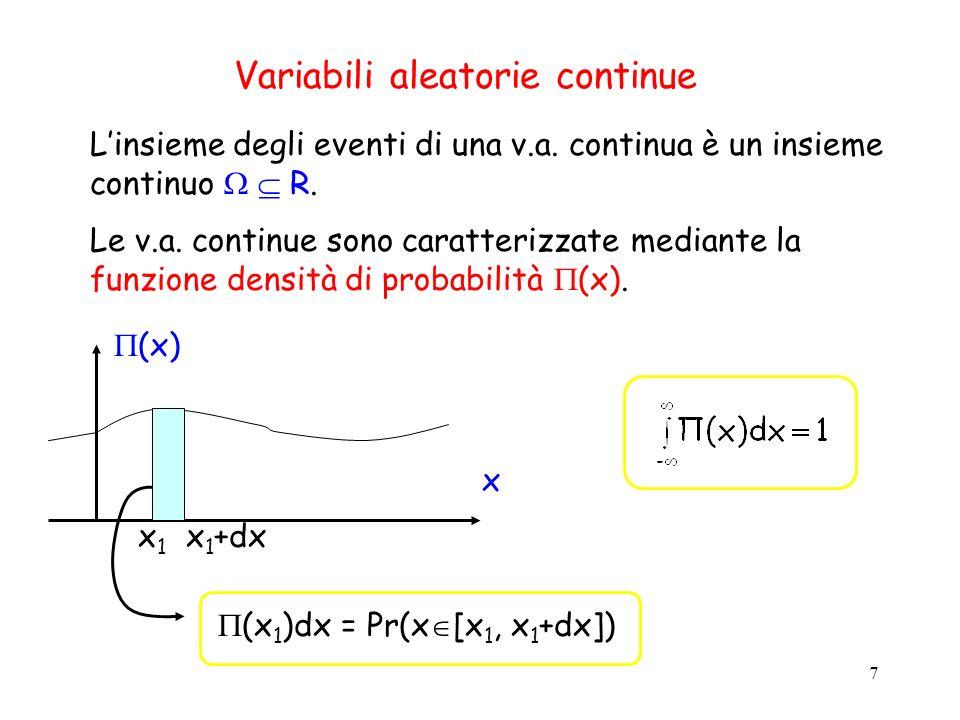 8 La funzione di distribuzione (cumulativa) F X (x) esprime la probabilità che X assuma un valore minore o uguale ad x: Chiaramente la funzione F X (x) è una funzione monotona non decrescente e F X (+ )=1.
