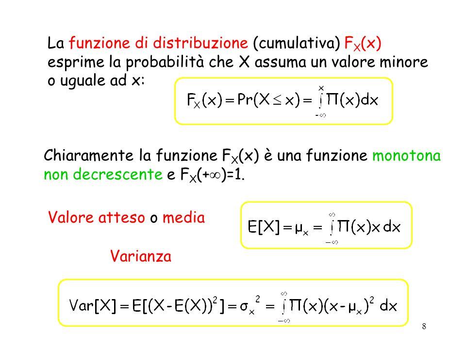 9 Variabile aleatoria uniforme continua (x) x ab 1/(b-a) E[X]=(a+b)/2 Var[X]=(b-a) 2 /12 Variabile aleatoria esponenziale (x) = e - x x x R + {0} E[X]=1/ Var[X]= 1/ 2