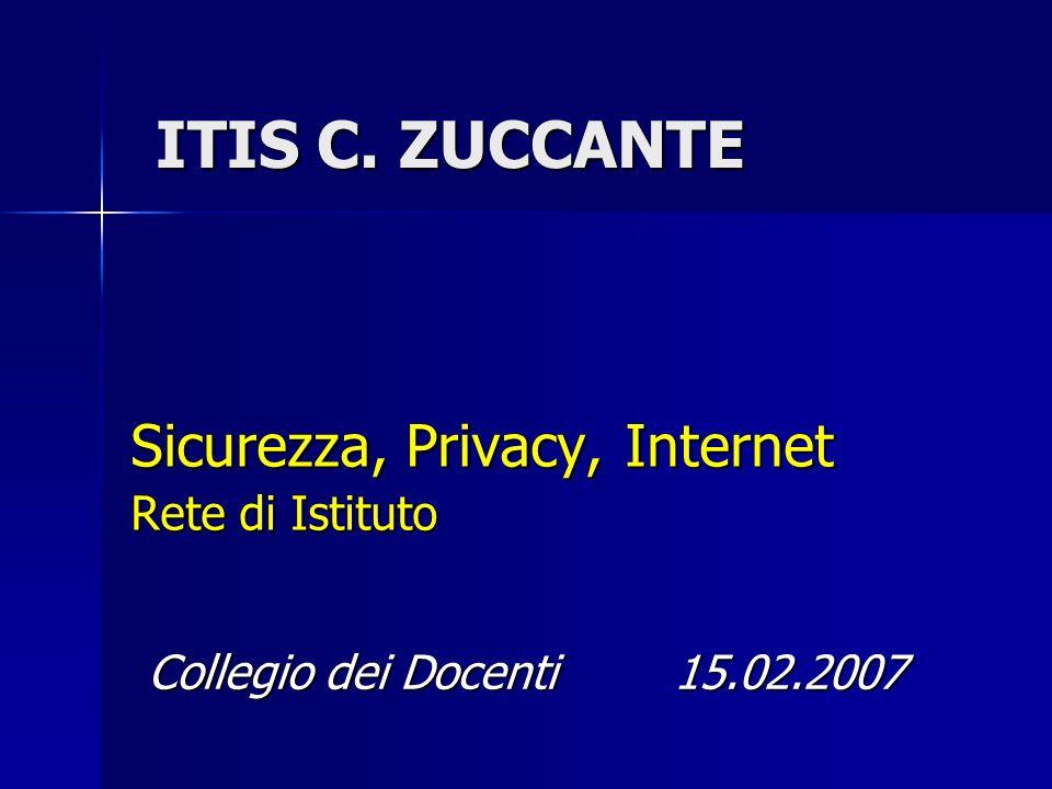 ITIS C. ZUCCANTE Sicurezza, Privacy, Internet Rete di Istituto Collegio dei Docenti15.02.2007
