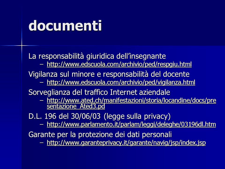 documenti La responsabilità giuridica dellinsegnante –http://www.edscuola.com/archivio/ped/respgiu.html http://www.edscuola.com/archivio/ped/respgiu.h