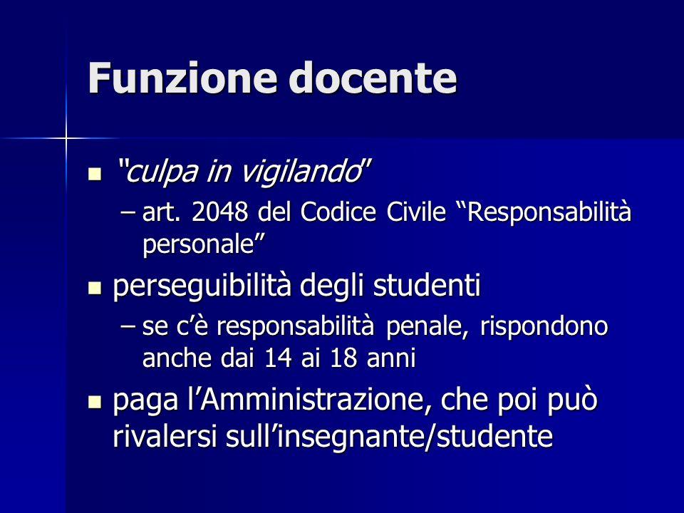Funzione docente culpa in vigilando culpa in vigilando –art. 2048 del Codice Civile Responsabilità personale perseguibilità degli studenti perseguibil