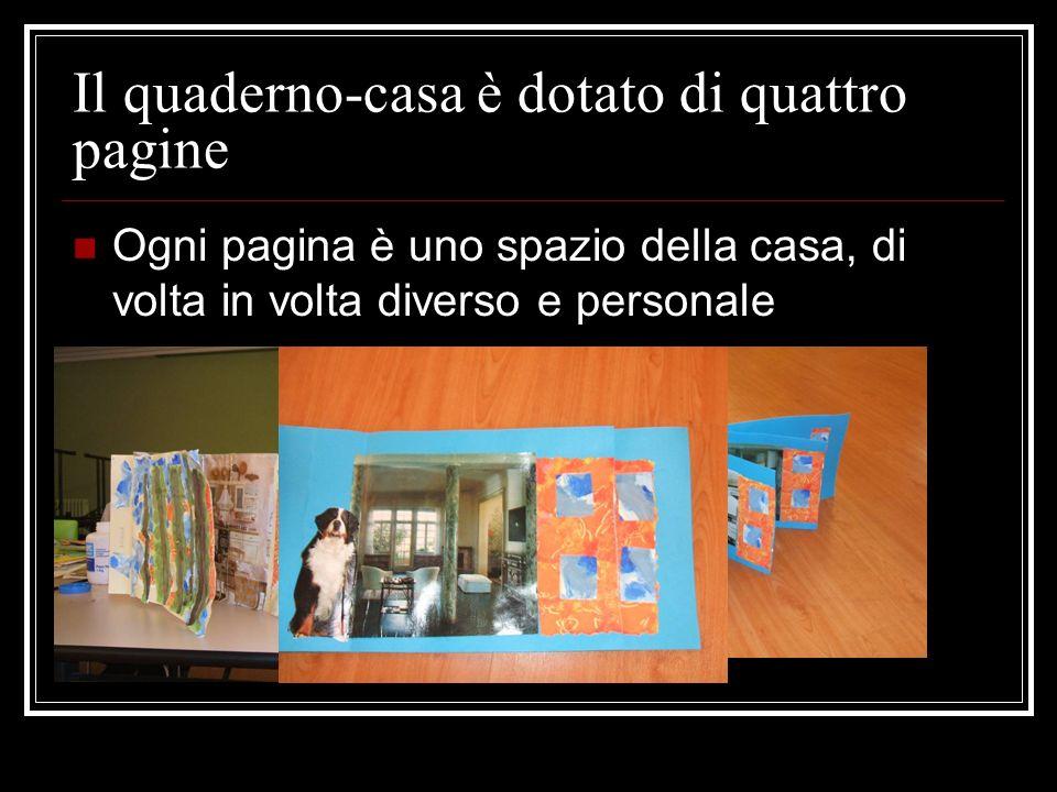 Il quaderno-casa è dotato di quattro pagine Ogni pagina è uno spazio della casa, di volta in volta diverso e personale