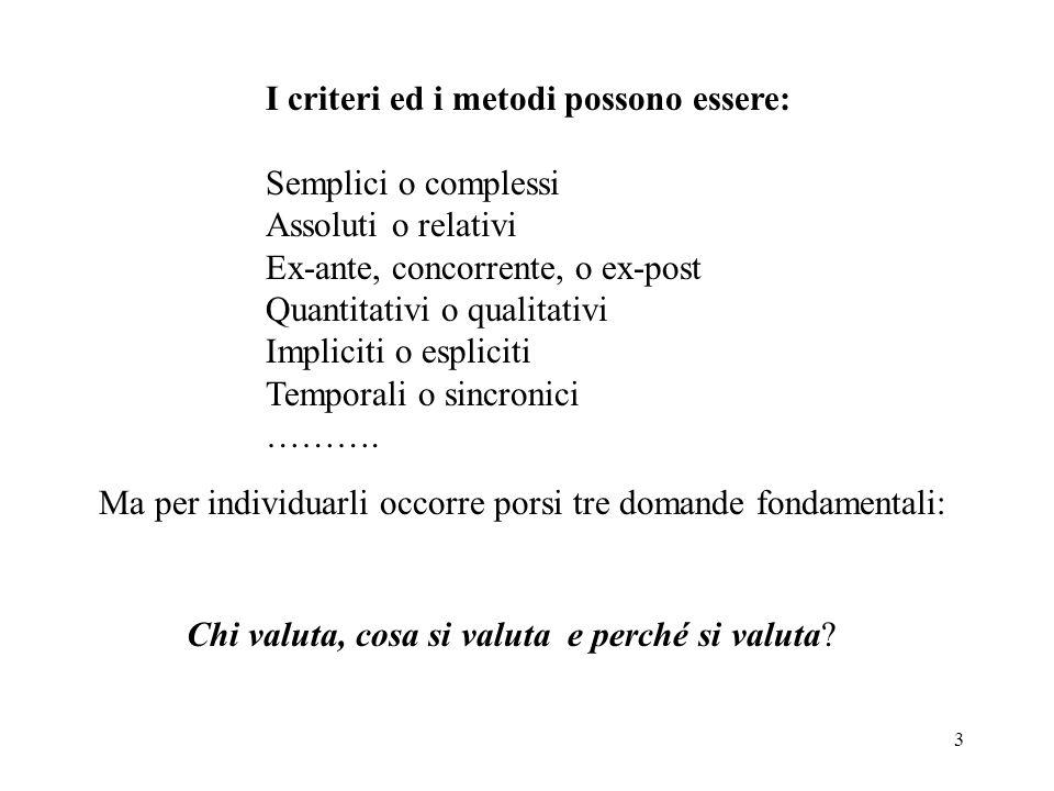 3 I criteri ed i metodi possono essere: Semplici o complessi Assoluti o relativi Ex-ante, concorrente, o ex-post Quantitativi o qualitativi Impliciti o espliciti Temporali o sincronici ……….