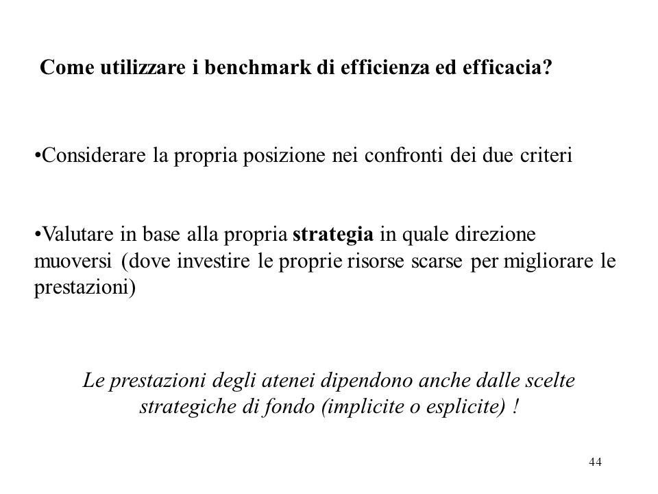 44 Come utilizzare i benchmark di efficienza ed efficacia.