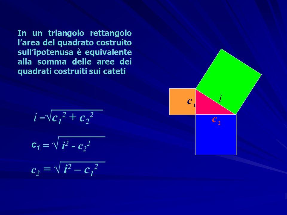 In un triangolo rettangolo larea del quadrato costruito sullipotenusa è equivalente alla somma delle aree dei quadrati costruiti sui cateti c 1 c 2 i