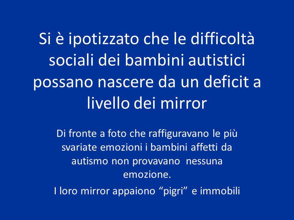Si è ipotizzato che le difficoltà sociali dei bambini autistici possano nascere da un deficit a livello dei mirror Di fronte a foto che raffiguravano