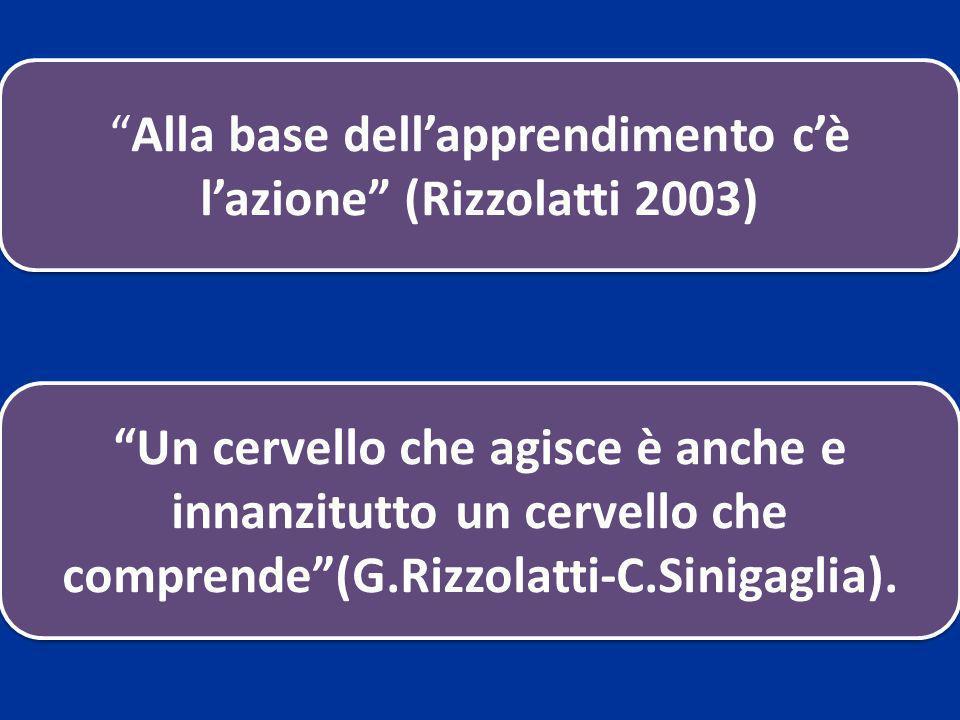 Alla base dellapprendimento cè lazione (Rizzolatti 2003) Un cervello che agisce è anche e innanzitutto un cervello che comprende(G.Rizzolatti-C.Siniga