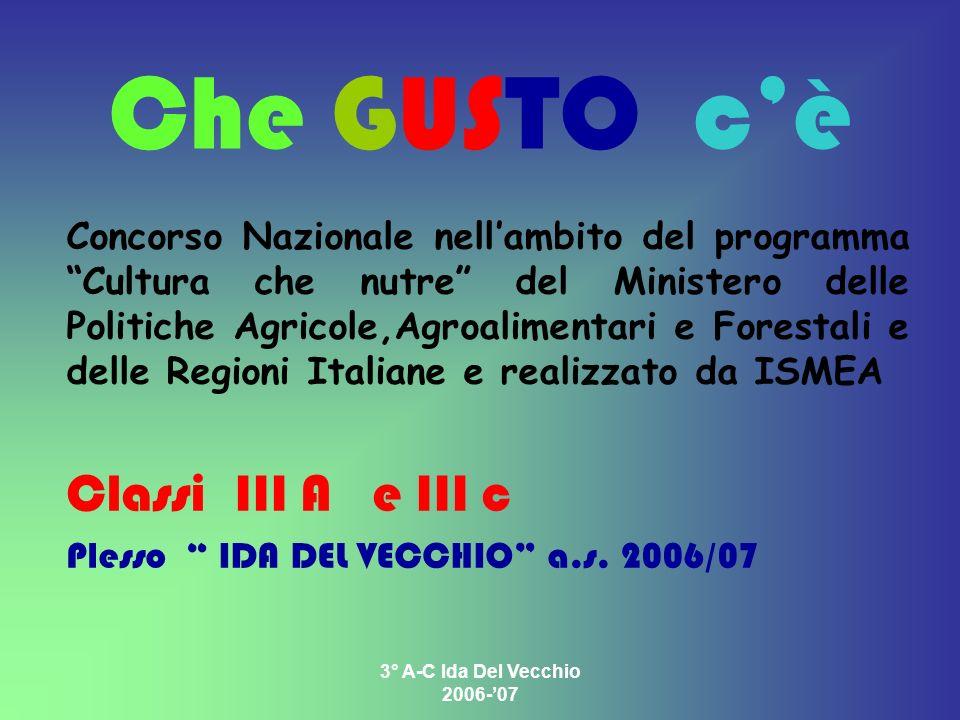 3° A-C Ida Del Vecchio 2006-07 Che GUSTO cè Concorso Nazionale nellambito del programma Cultura che nutre del Ministero delle Politiche Agricole,Agroa