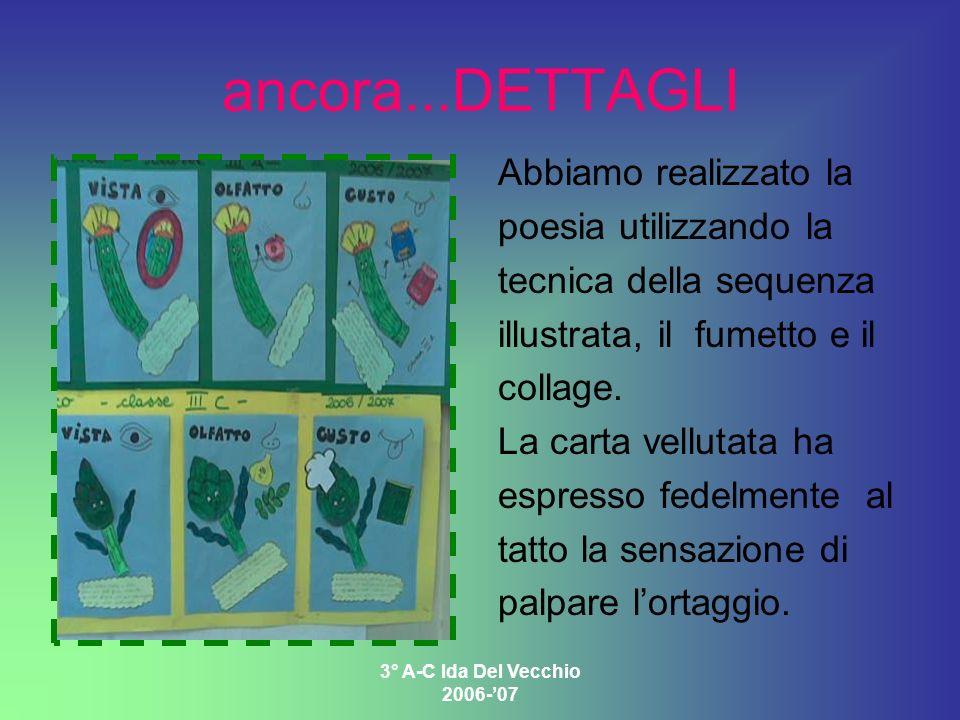 3° A-C Ida Del Vecchio 2006-07 ancora...DETTAGLI Abbiamo realizzato la poesia utilizzando la tecnica della sequenza illustrata, il fumetto e il collag