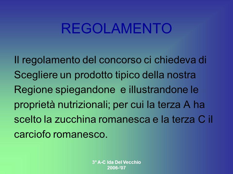 3° A-C Ida Del Vecchio 2006-07 REGOLAMENTO Il regolamento del concorso ci chiedeva di Scegliere un prodotto tipico della nostra Regione spiegandone e