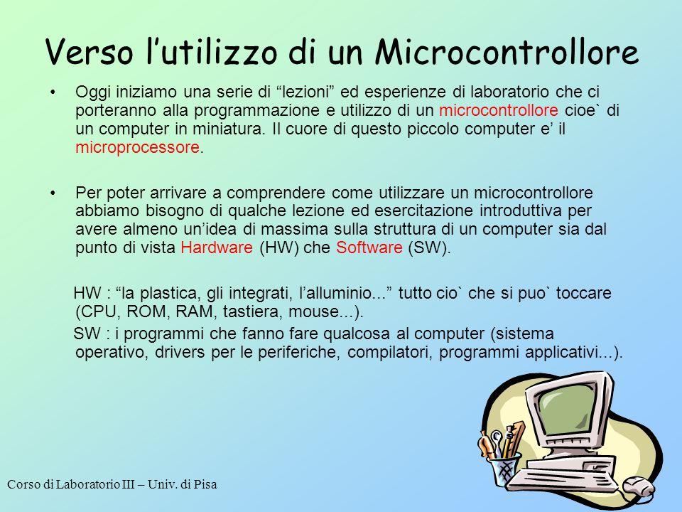Corso di Laboratorio III – Univ. di Pisa 1 Verso lutilizzo di un Microcontrollore Oggi iniziamo una serie di lezioni ed esperienze di laboratorio che