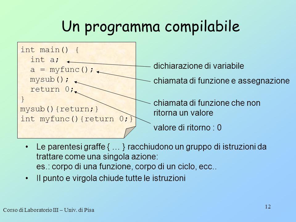 Corso di Laboratorio III – Univ. di Pisa 12 int main() { int a; a = myfunc(); mysub(); return 0; } mysub(){return;} int myfunc(){return 0;} Un program