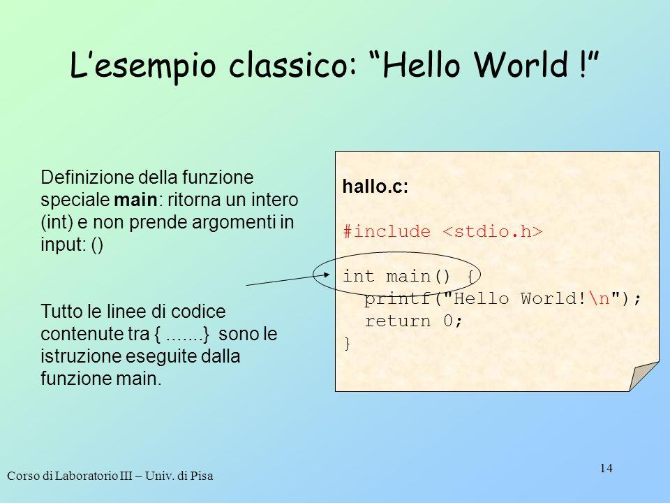 Corso di Laboratorio III – Univ. di Pisa 14 hallo.c: #include int main() { printf(