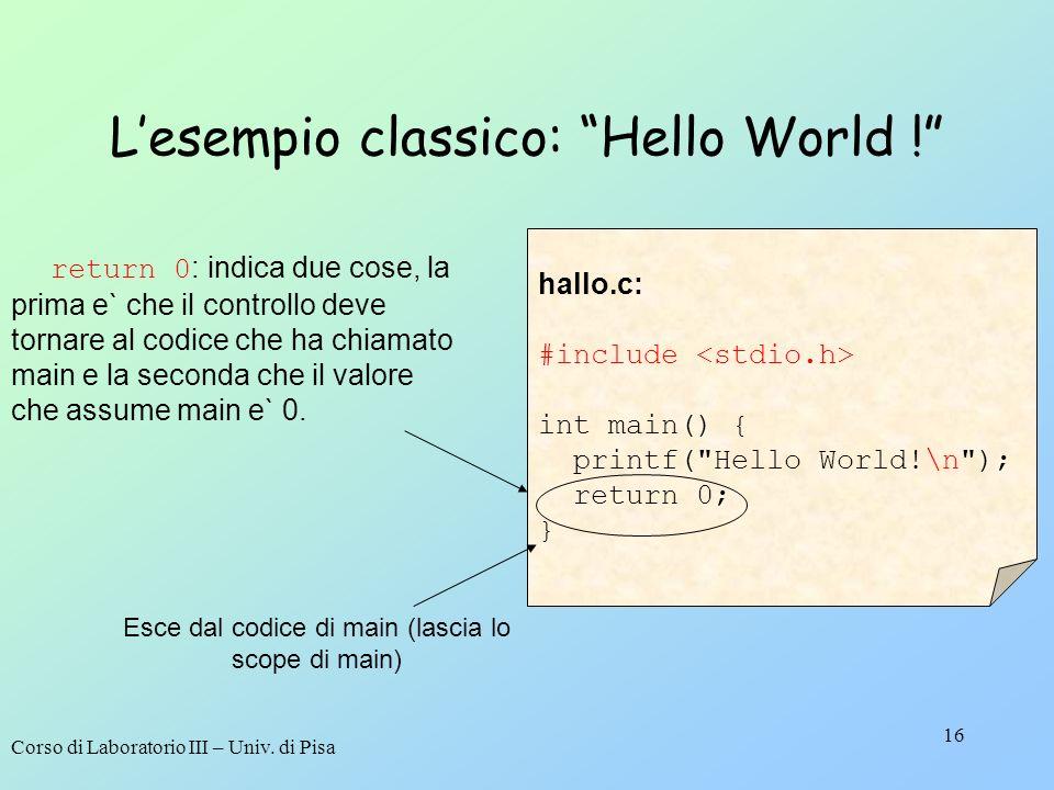 Corso di Laboratorio III – Univ. di Pisa 16 Lesempio classico: Hello World ! hallo.c: #include int main() { printf(