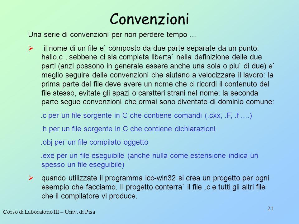 Corso di Laboratorio III – Univ. di Pisa 21 Convenzioni Una serie di convenzioni per non perdere tempo... il nome di un file e` composto da due parte