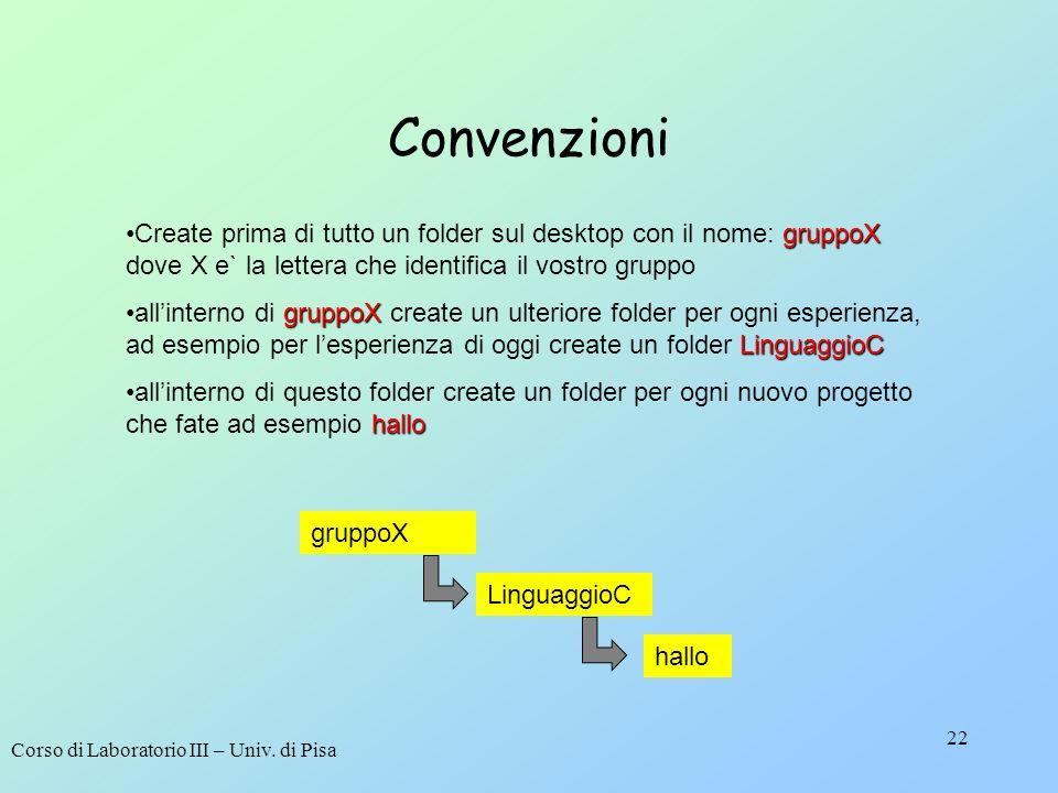 Corso di Laboratorio III – Univ. di Pisa 22 Convenzioni gruppoXCreate prima di tutto un folder sul desktop con il nome: gruppoX dove X e` la lettera c