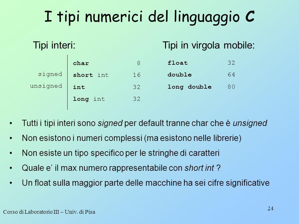 Corso di Laboratorio III – Univ. di Pisa 24 I tipi numerici del linguaggio C Tutti i tipi interi sono signed per default tranne char che è unsigned No