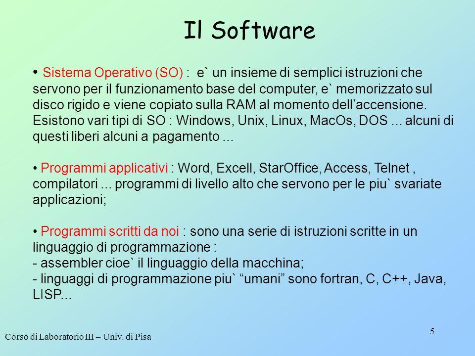Corso di Laboratorio III – Univ. di Pisa 5 Il Software Sistema Operativo (SO) : e` un insieme di semplici istruzioni che servono per il funzionamento