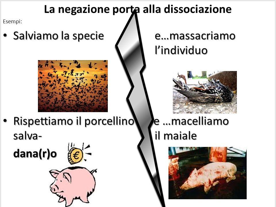 La negazione porta alla dissociazione Esempi: Salviamo la speciee…massacriamo lindividuo Salviamo la specie e…massacriamo lindividuo Rispettiamo il po