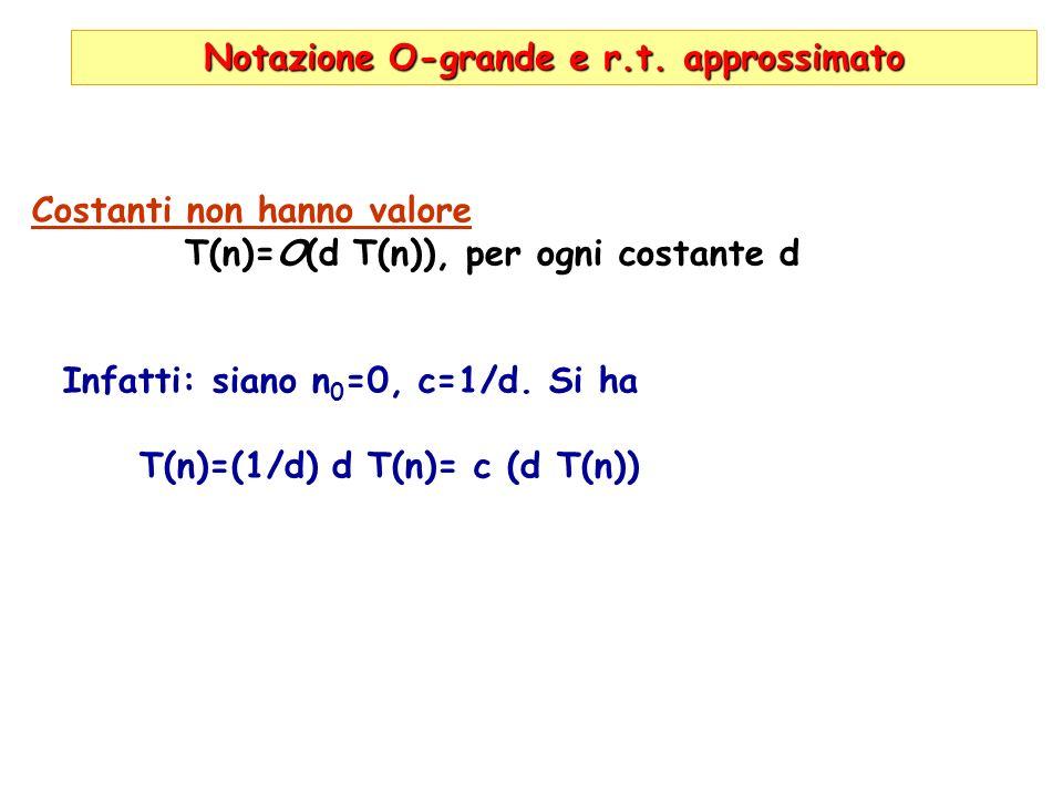 Notazione O-grande e r.t. approssimato Costanti non hanno valore T(n)=O(d T(n)), per ogni costante d Infatti: siano n 0 =0, c=1/d. Si ha T(n)=(1/d) d