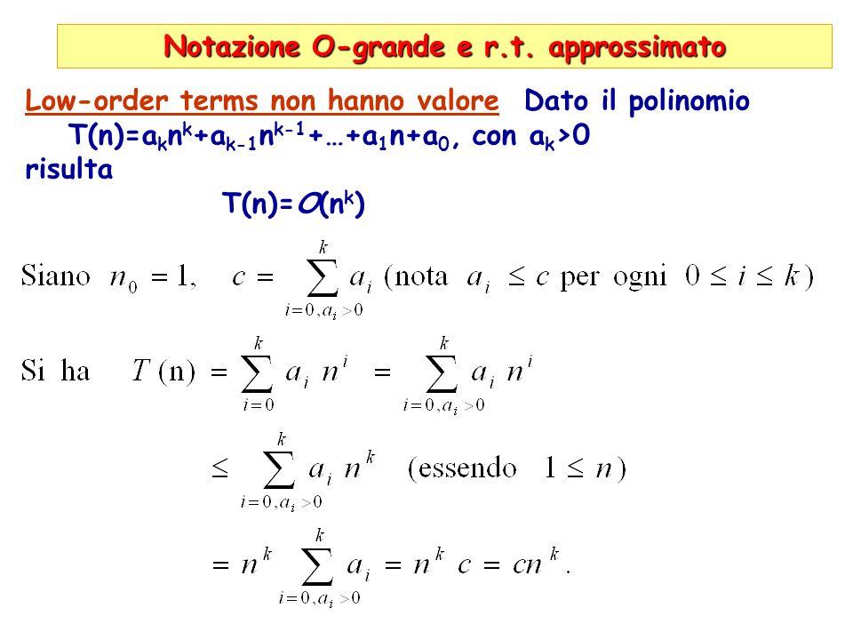 Notazione O-grande e r.t. approssimato Low-order terms non hanno valore Dato il polinomio T(n)=a k n k +a k-1 n k-1 +…+a 1 n+a 0, con a k >0 risulta T