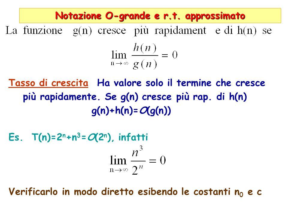 Notazione O-grande e r.t. approssimato Tasso di crescita Ha valore solo il termine che cresce più rapidamente. Se g(n) cresce più rap. di h(n) g(n)+h(